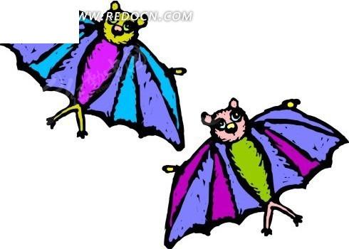 素材下载 矢量素材 矢量人物 卡通形象 > 手绘两只彩色的蝙蝠