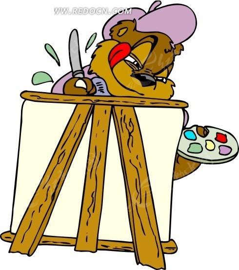 卡通画画板前画画的熊