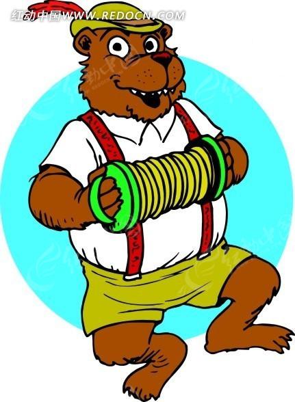 手绘跳舞的棕熊
