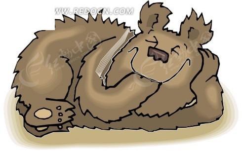手绘卡通画睡觉的棕熊