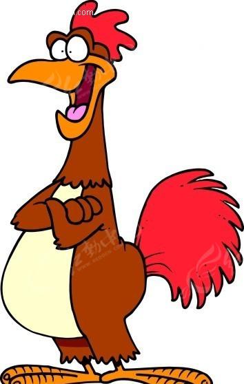 免费素材 矢量素材 矢量人物 卡通形象 手绘红色鸡冠的大公鸡