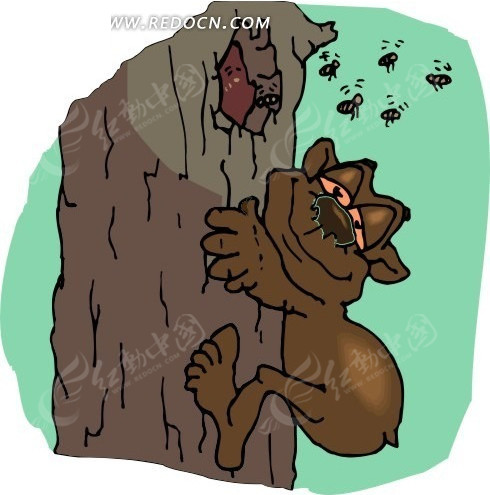熊 树干 卡通动物 卡通画 插画 手绘 矢量素材 动物图片 卡通形象