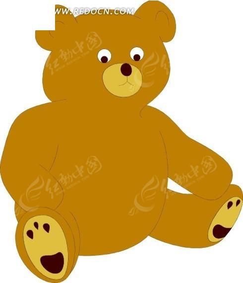 手绘坐在地上的玩具熊