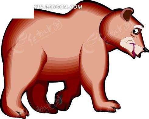 手绘红色四脚着地的熊图片