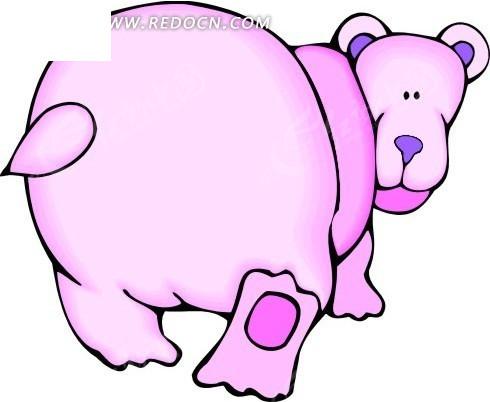 免费素材 矢量素材 矢量人物 卡通形象 手绘回首张望的粉红色熊