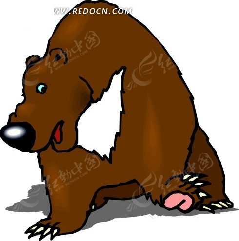 手绘插画坐在地上的熊图片