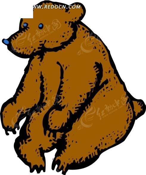 免费素材 矢量素材 矢量人物 卡通形象 手绘插画坐在地上的棕熊  请您