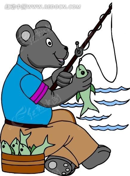 手绘钓鱼的熊图片