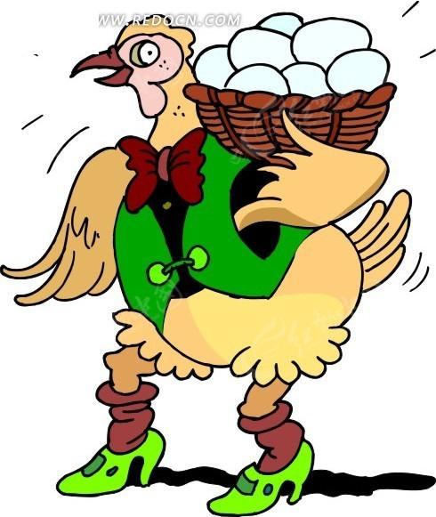 卡通画扛着一篮鸡蛋的母鸡 卡通形象 红动手机版
