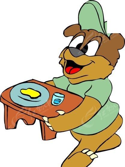 手绘端着凳子的小熊矢量图_卡通形象