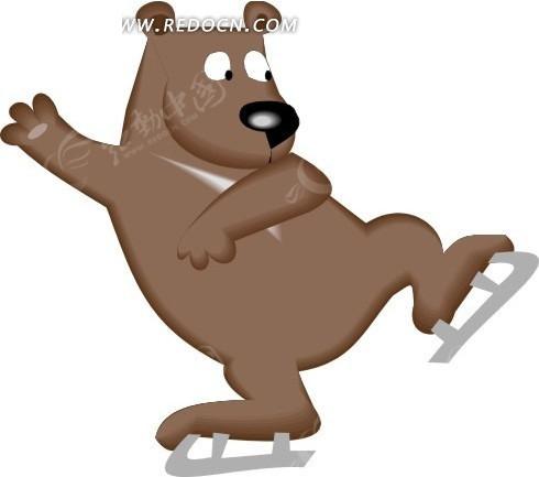 手绘玩滑冰的卡通熊图片