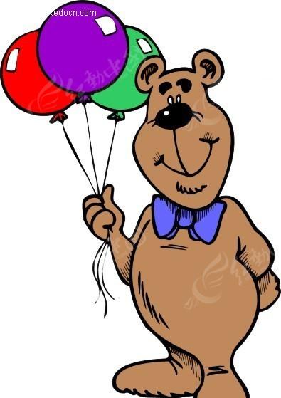 手绘拿着气球的卡通熊
