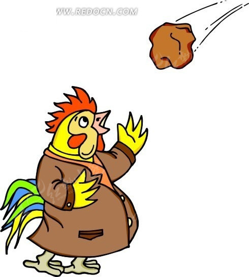 卡通画穿衣服的大公鸡