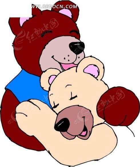 手绘两只抱在一起的熊矢量图