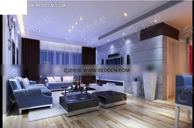 免费客厅3d蓝色3d模型室内设计素材调简洁素材v客厅效果图请您目前一般平面设计工资大概多少图片
