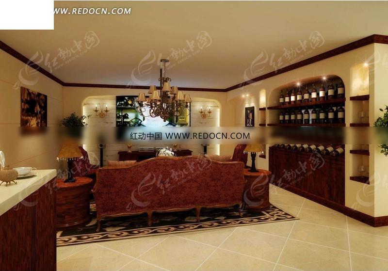 中式古典奢华客厅效果图设计图片