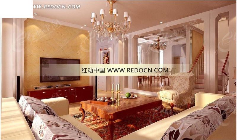 欧式罗马柱造型分隔的客厅与餐厅3dmax模型