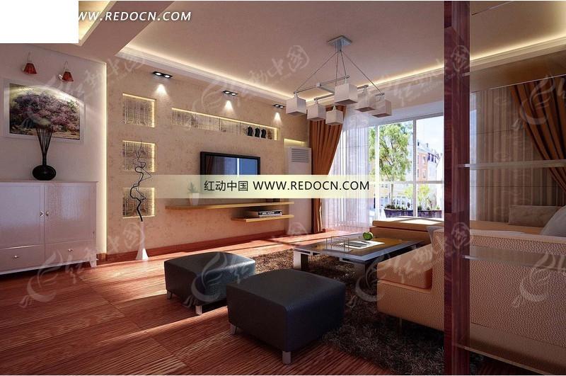 免费素材 3d素材 3d模型 室内设计 电视墙有展示架的现代客厅3dmax图片