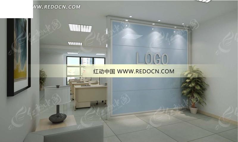 现代淡雅办公室3d效果图