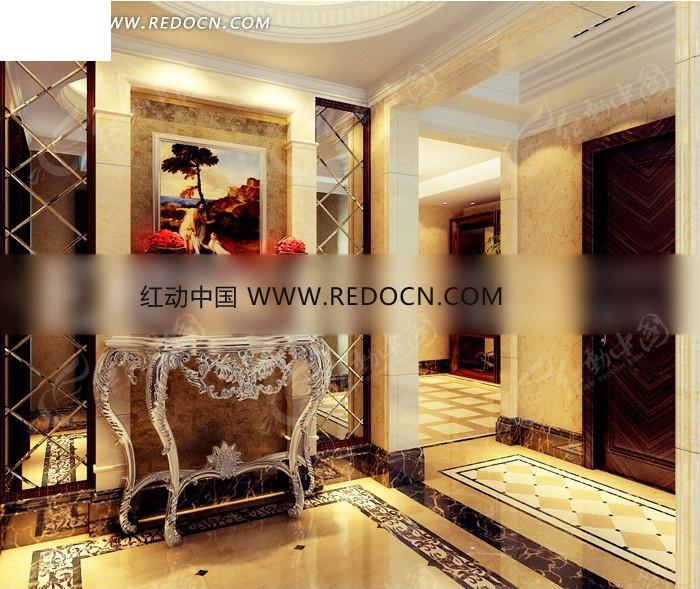 欧式菱形拼镜装饰门厅3dmax模型图片