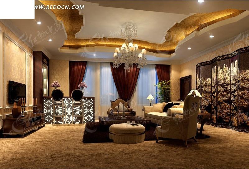 古典风别墅客厅效果图设计