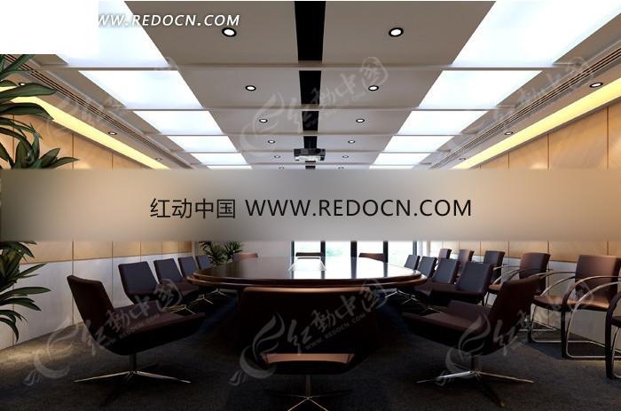 现代会议室3d效果图