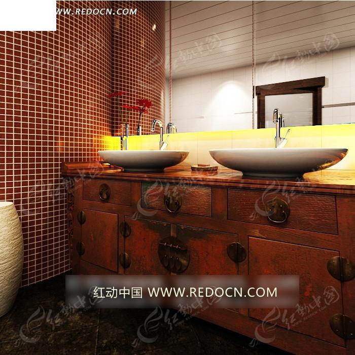 白色欧式沙发和咖色雕花柜子3d效果图