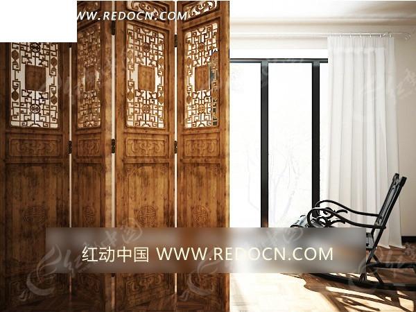 木质镂空花雕屏风和摇椅效果图