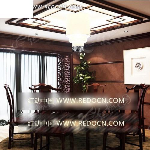 中国风餐厅效果图设计