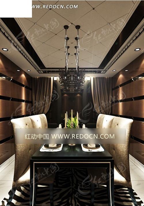 简约欧式墙面横条造型餐厅3dmax模型图片