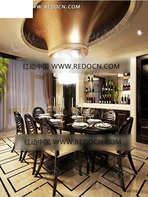 金色喇叭形吊顶欧式餐厅3dmax模型图片