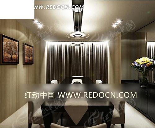 简约欧式长方形餐厅3dmax模型图片