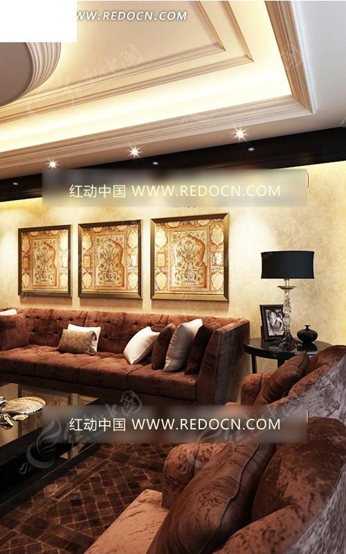 奢华灯芯绒沙发组合欧式客厅一角3dmax模型图片