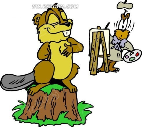 树桩 画画 河狸 卡通动物 卡通画 插画 手绘 矢量素材 动物人物图片