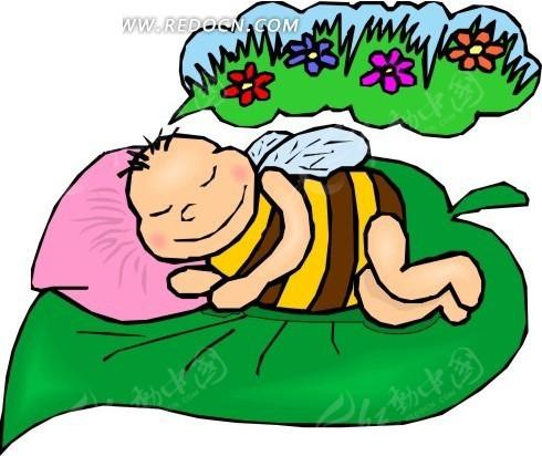 躺着睡觉的蜜蜂矢量图