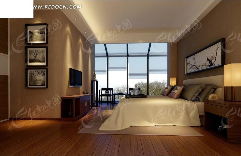 现代卧室效果图设计3dmax素材免费下载_红动网