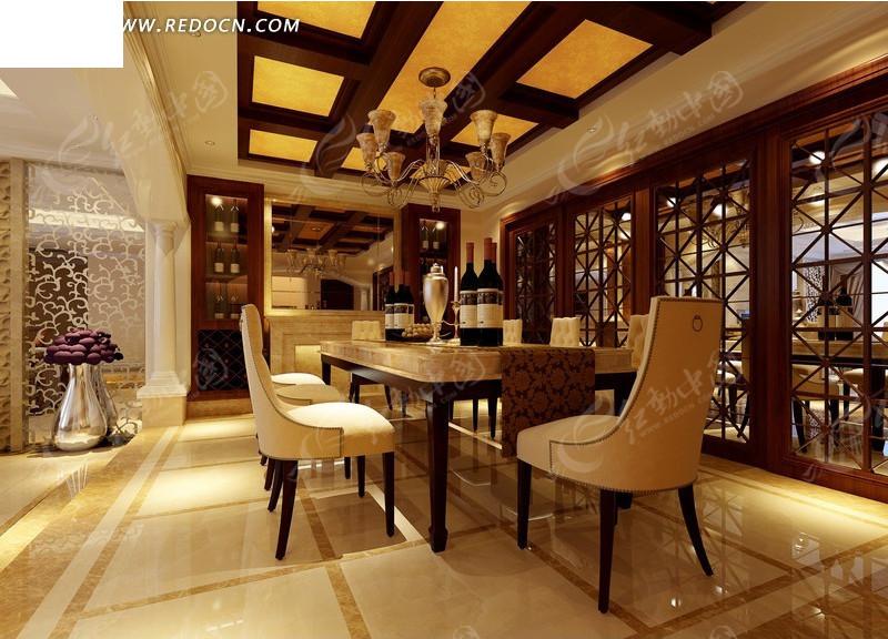 古典中式餐厅效果图设计图片