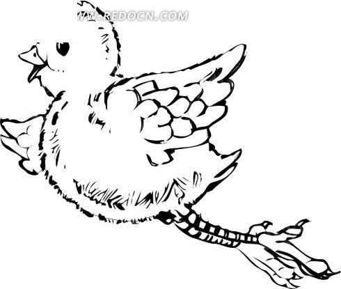 手绘黑色线描小鸟图案矢量素材