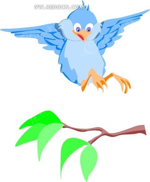 手绘飞舞的小鸟和树枝矢量图_空中动物