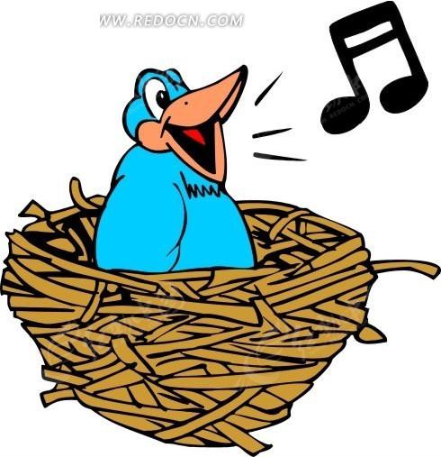 手绘在鸟窝里唱歌的小鸟