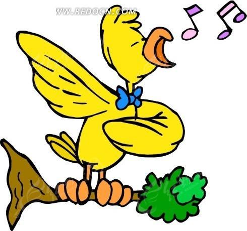 鸟 树枝 小鸟 卡通动物 卡通画 插画 手绘 矢量素材 动物图片 卡通