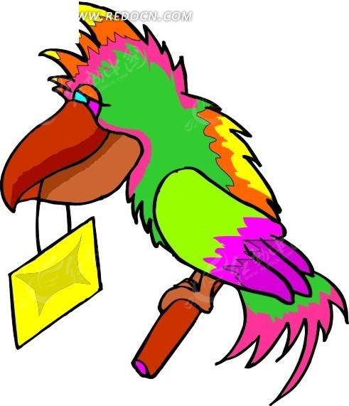 手绘彩色的鹦鹉