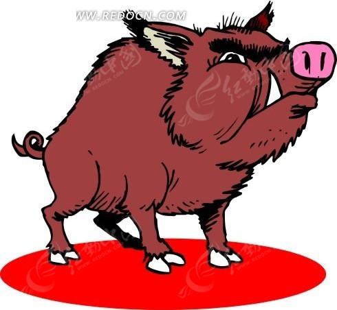 手绘野猪图片