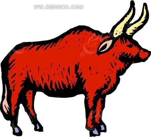 手绘一只红色的公牛