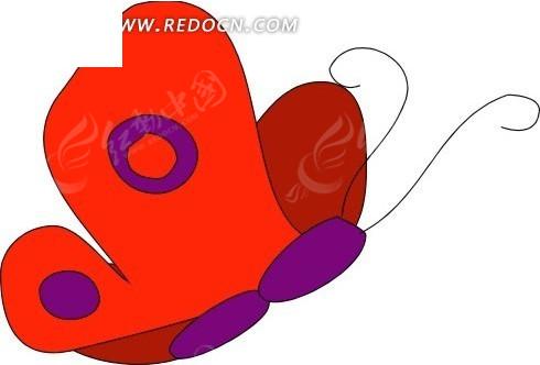 手绘飞舞的红色蝴蝶