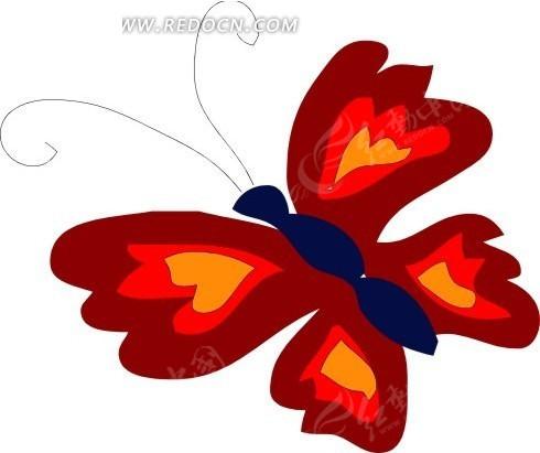 手绘一只红色的蝴蝶
