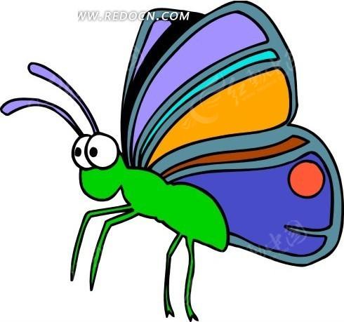 手绘绿色身子蓝色翅膀的蝴蝶矢量图 空中动物图片