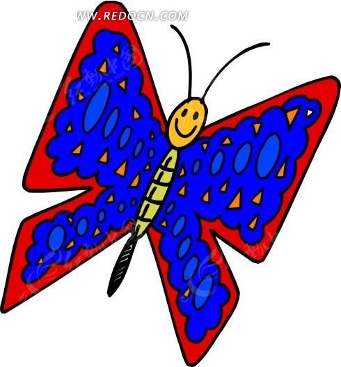 卡通画带笑脸的蓝色蝴蝶其他免费下载_空中动物素材