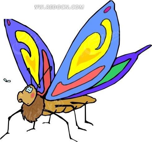 卡通画蓝色的蝴蝶