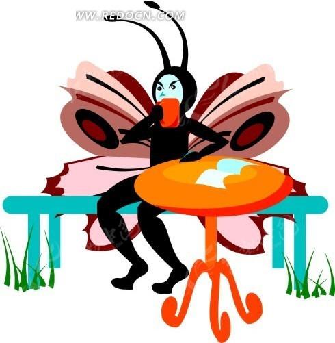 卡通画坐在条凳上喝东西的蝴蝶